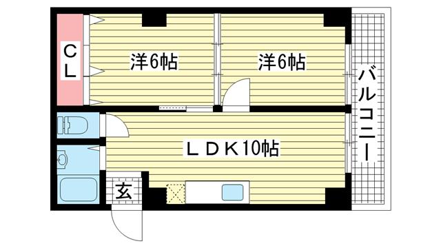 物件番号: 1025857998 三葉ハイツ  神戸市中央区山本通4丁目 2DK マンション 間取り図