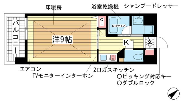 物件番号: 1025858033 アーバネックス新神戸  神戸市中央区熊内橋通5丁目 1K マンション 間取り図