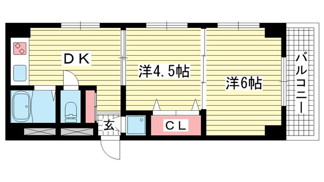 物件番号: 1025858071 パレルミエール  神戸市中央区古湊通2丁目 2DK マンション 間取り図