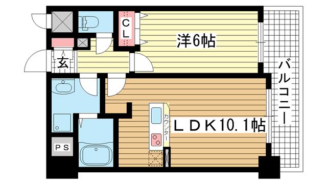 物件番号: 1025858404 インボイス新神戸レジデンス  神戸市中央区生田町3丁目 1LDK マンション 間取り図