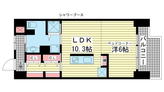 物件番号: 1025858471 NATARIE KOBE  神戸市兵庫区湊町4丁目 1LDK マンション 間取り図