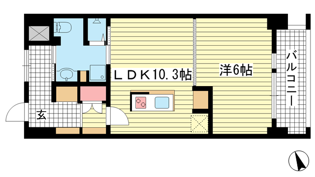 物件番号: 1025858481 NATARIE KOBE  神戸市兵庫区湊町4丁目 1LDK マンション 間取り図