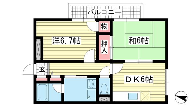物件番号: 1025858566 プルミエール上沢  神戸市兵庫区上沢通4丁目 2DK マンション 間取り図