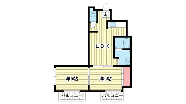 物件番号: 1025858673 永光マンション  神戸市中央区山本通4丁目 2DK マンション 間取り図