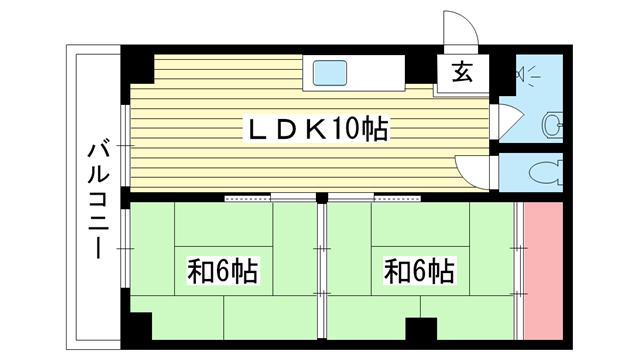 物件番号: 1025858674 三葉ハイツ  神戸市中央区山本通4丁目 2LDK マンション 間取り図