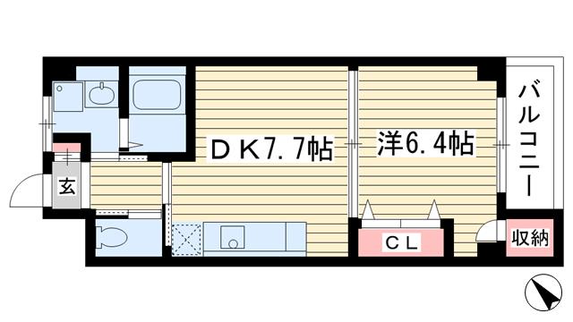 物件番号: 1025858761 夢野アパートメント  神戸市兵庫区鵯越町 1DK マンション 間取り図