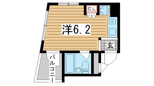 物件番号: 1025858895 カサ春日野道  神戸市中央区旗塚通1丁目 1R マンション 間取り図