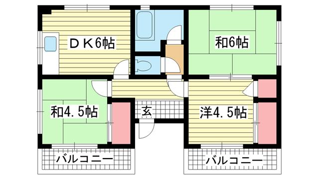物件番号: 1025858974 サカエマンション  神戸市中央区宮本通5丁目 3DK マンション 間取り図