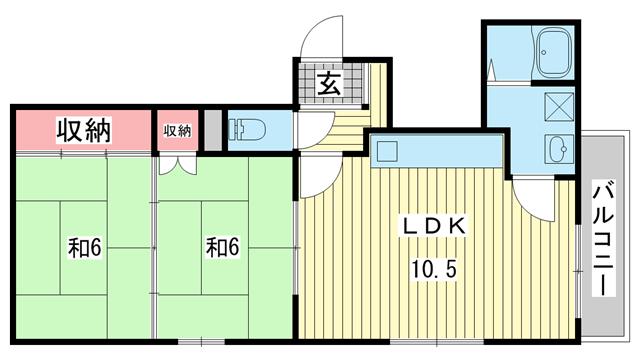 物件番号: 1025858990 エクセル春日野道  神戸市中央区吾妻通1丁目 2LDK マンション 間取り図