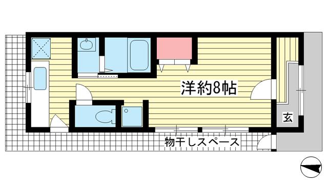 物件番号: 1025858995 二宮住宅  神戸市中央区二宮町3丁目 1K 貸家 間取り図