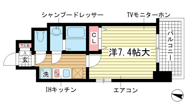 物件番号: 1025859045 フロイデ  神戸市中央区御幸通3丁目 1K マンション 間取り図