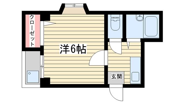 物件番号: 1025859047 兼山マンション  神戸市中央区筒井町3丁目 1DK マンション 間取り図