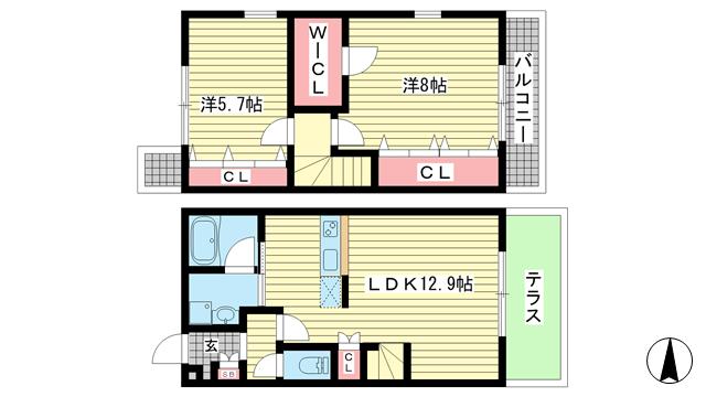 物件番号: 1025859220 ワコーレヴィアーノ神戸梅元町  神戸市兵庫区梅元町 2LDK テラスハウス 間取り図
