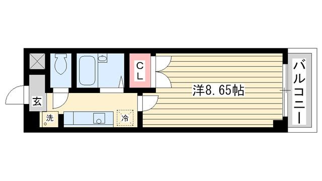 物件番号: 1025859399 アートプラザ神戸西  神戸市西区前開南町2丁目 1K マンション 間取り図