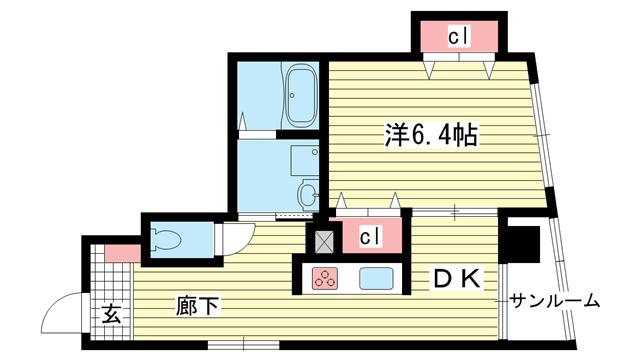 物件番号: 1025859454 丸山ビル  神戸市兵庫区下沢通1丁目 1DK マンション 間取り図