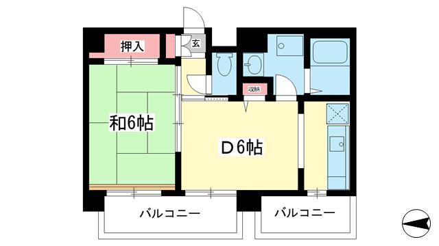物件番号: 1025859466 阿部ビル  神戸市中央区北長狭通2丁目 2K マンション 間取り図