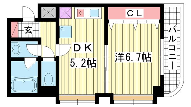物件番号: 1025859627 ファゼンダ78  神戸市中央区熊内町2丁目 1K マンション 間取り図
