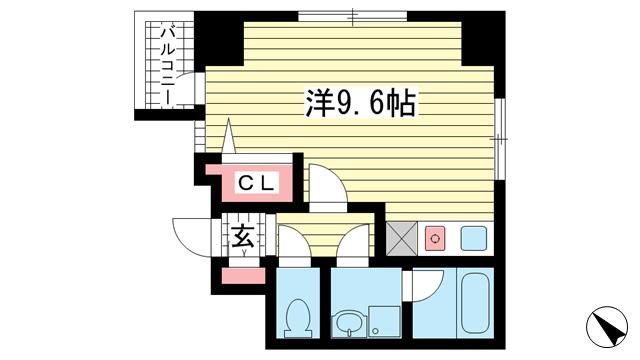 物件番号: 1025859852 リ・アルテ湊川公園  神戸市兵庫区荒田町1丁目 1R マンション 間取り図