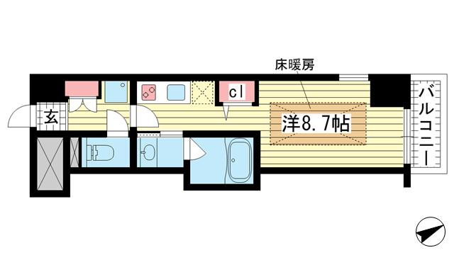 物件番号: 1025859875 J-cube KOBE  神戸市中央区楠町6丁目 1K マンション 間取り図