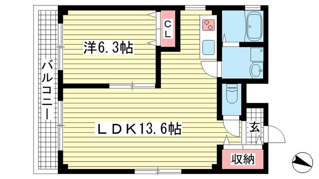 物件番号: 1025859912 アジェント北野  神戸市中央区北野町4丁目 1LDK マンション 間取り図
