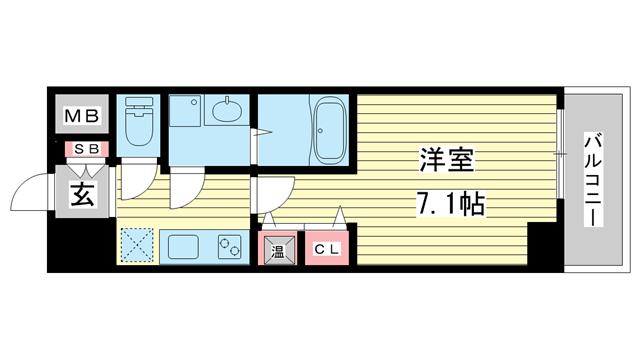 物件番号: 1025859922 アドバンス三宮シュロス  神戸市中央区八雲通1丁目 1K マンション 間取り図
