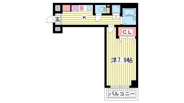 物件番号: 1025860166 カーサ神戸下山手  神戸市中央区下山手通3丁目 1K マンション 間取り図
