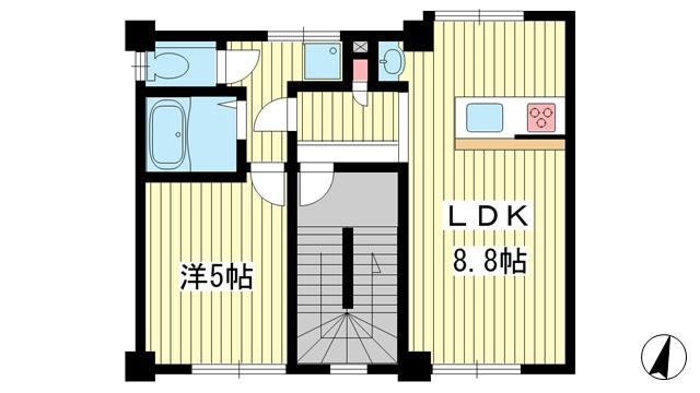 物件番号: 1025860362 Wagaya春日野道  神戸市中央区割塚通5丁目 1LDK マンション 間取り図