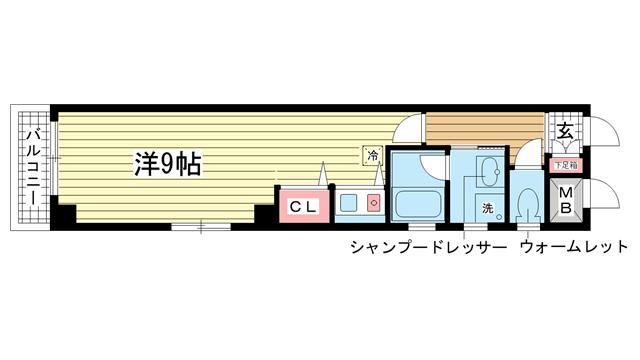物件番号: 1025860386 リヴェール北野坂  神戸市中央区中山手通1丁目 1R マンション 間取り図