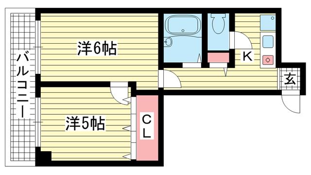 物件番号: 1025860412 摂津ビルド  神戸市兵庫区上沢通2丁目 2K マンション 間取り図
