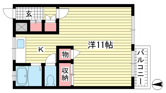 物件番号: 1025860514 エルパラッツォ熊内  神戸市中央区熊内町8丁目 1R マンション 間取り図