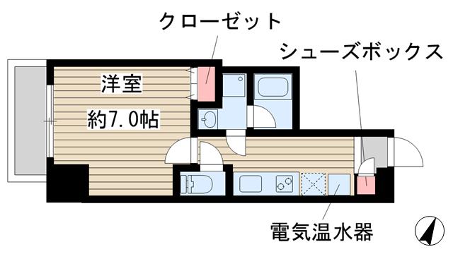 物件番号: 1025860559 アドバンス三宮ステージア  神戸市中央区東雲通1丁目 1K マンション 間取り図