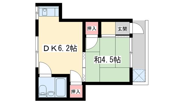 物件番号: 1025860590 岡本マンション  神戸市中央区宮本通1丁目 1DK マンション 間取り図
