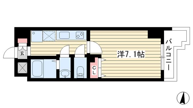 物件番号: 1025860614 アドバンス三宮Ⅵクレスト  神戸市中央区八雲通6丁目 1K マンション 間取り図