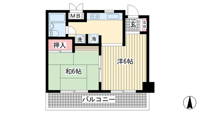 物件番号: 1025860652 ケンコーハイツ  神戸市中央区花隈町 2K マンション 間取り図