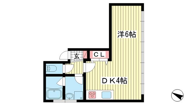 物件番号: 1025860735 n・i BLDG.  神戸市中央区元町通4丁目 1DK マンション 間取り図
