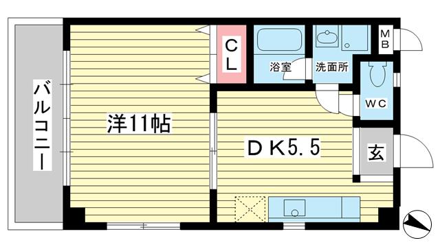 物件番号: 1025860736 Apartments大倉山  神戸市中央区多聞通5丁目 1DK マンション 間取り図