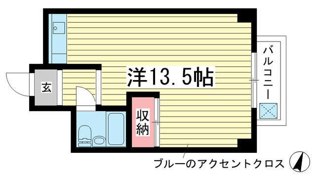 物件番号: 1025860810 水木北野シルクハイツⅠ  神戸市中央区山本通1丁目 1R マンション 間取り図