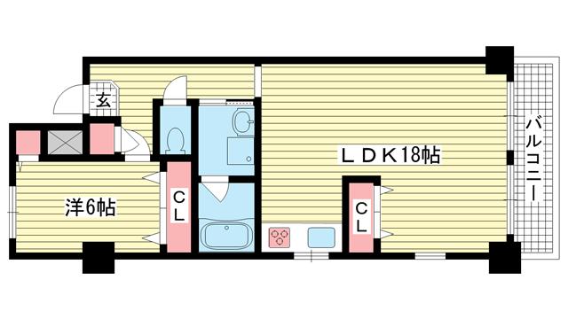物件番号: 1025860850 古湊ダイヤハイツ  神戸市兵庫区新開地5丁目 1LDK マンション 間取り図