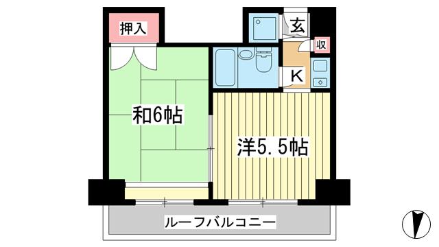 物件番号: 1025860892 元町アーバンライフ  神戸市中央区元町通5丁目 2K マンション 間取り図