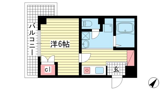 物件番号: 1025860917 NEP三宮(旧:ノモズヴィレッジ三宮)  神戸市中央区琴ノ緒町5丁目 1K マンション 間取り図