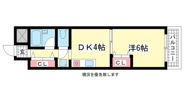 物件番号: 1025861005 グローリー元町  神戸市中央区下山手通4丁目 2K マンション 間取り図