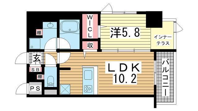 物件番号: 1025861009 メゾンエスプリ生田  神戸市中央区中山手通2丁目 1LDK マンション 間取り図