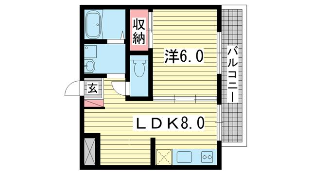 物件番号: 1025861056 神仙閣マンション  神戸市中央区中山手通4丁目 1LDK マンション 間取り図