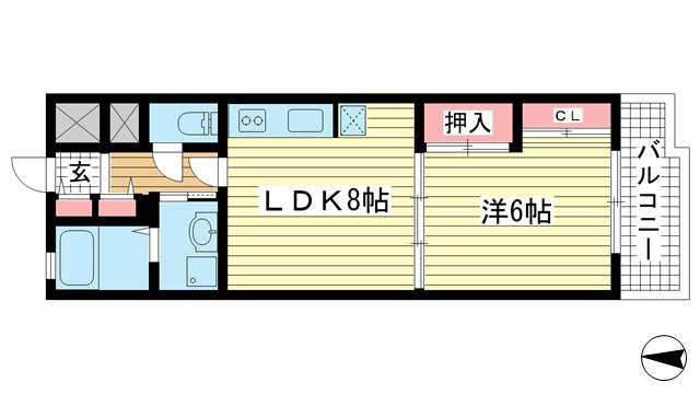 物件番号: 1025861082 ジュリアス中山手  神戸市中央区中山手通7丁目 1LDK マンション 間取り図