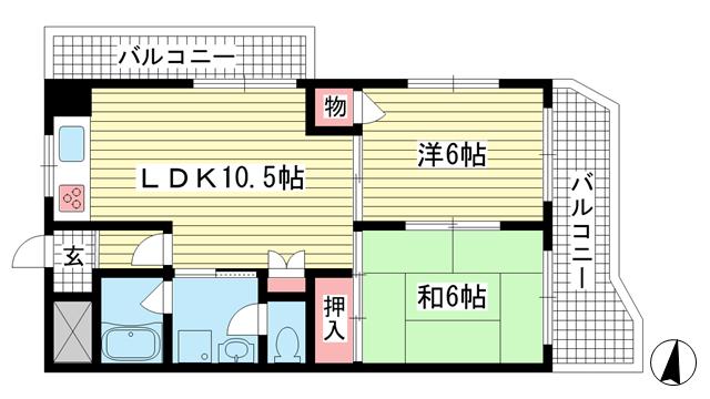 物件番号: 1025861404 メゾンエクレール元町  神戸市中央区北長狭通5丁目 2LDK マンション 間取り図