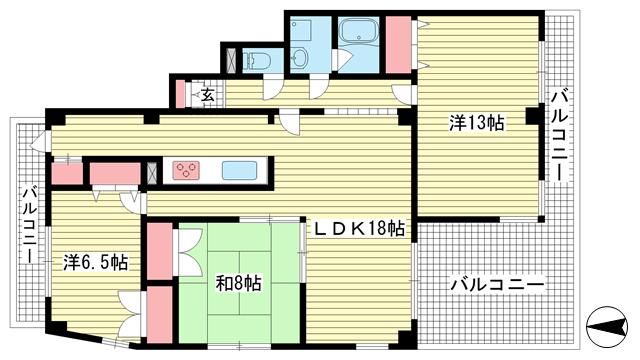 物件番号: 1025861498 サンコート阪急六甲  神戸市灘区山田町1丁目 3LDK マンション 間取り図