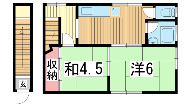 物件番号: 1025861844 モトハウス  神戸市中央区山本通4丁目 2K アパート 間取り図