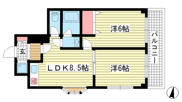 物件番号: 1025861878 サンビルダー55ビル  神戸市中央区旗塚通6丁目 2LDK マンション 間取り図
