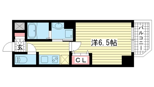 物件番号: 1025861899 プレサンス三宮フラワーロード  神戸市中央区浜辺通6丁目 1K マンション 間取り図