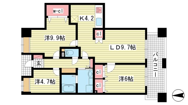 物件番号: 1025861941 東町・江戸町ビル  神戸市中央区江戸町 2LDK マンション 間取り図